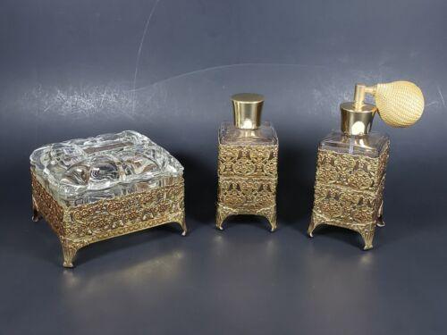 Vtg 3pc Vanity Dresser Set Gold Tone Filigree Perfume Cologne Bottle Jewelry Box