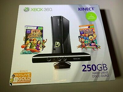 Microsoft Xbox 360 Bundle 250GB Black Console New Factory Sealed Mint Cond.