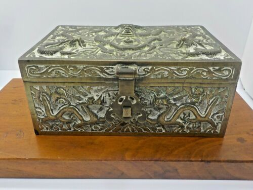 Chinese Embossed With Dragons & Serpents Brass Jewelry Box Sandlewood Lined