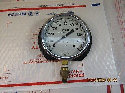 Vintage Weiss Pressure Gauge 100 Psig Brass Socket Brass Tube