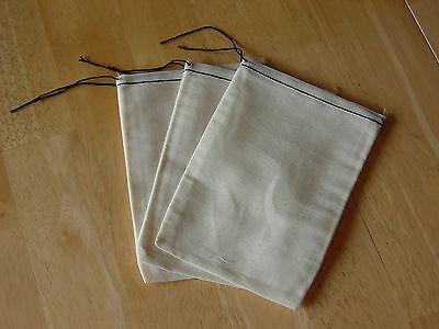 25 (5x7) Cotton Muslin Black Hem and Black Drawstring Bags