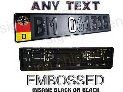 GERMAN BLACK ON BLACK, EURO STYLE  TAG, BMW,  European LICENSE plate, ANY TEXT