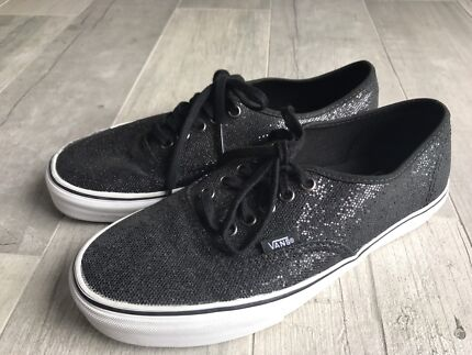 Auth BLACK 'GLITTER' VANS OFF THE WALL SHOES/SNEAKERS* US 8.5