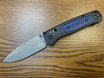 "Benchmade 535-191 Bugout Gold Class AXIS Lock Knife Ghost CF (3.2"" Damasteel)"