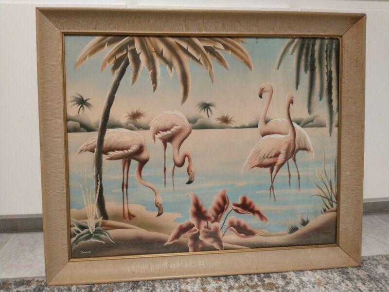 "Vintage ORIGINAL Mid Century TURNER Flamingo Print FRAMED 31.5""X26"" Billy Seay"