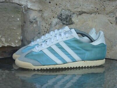 Vintage 1980s Adidas Lider UK 7 Made In Spain OG Rare Blue White 80s