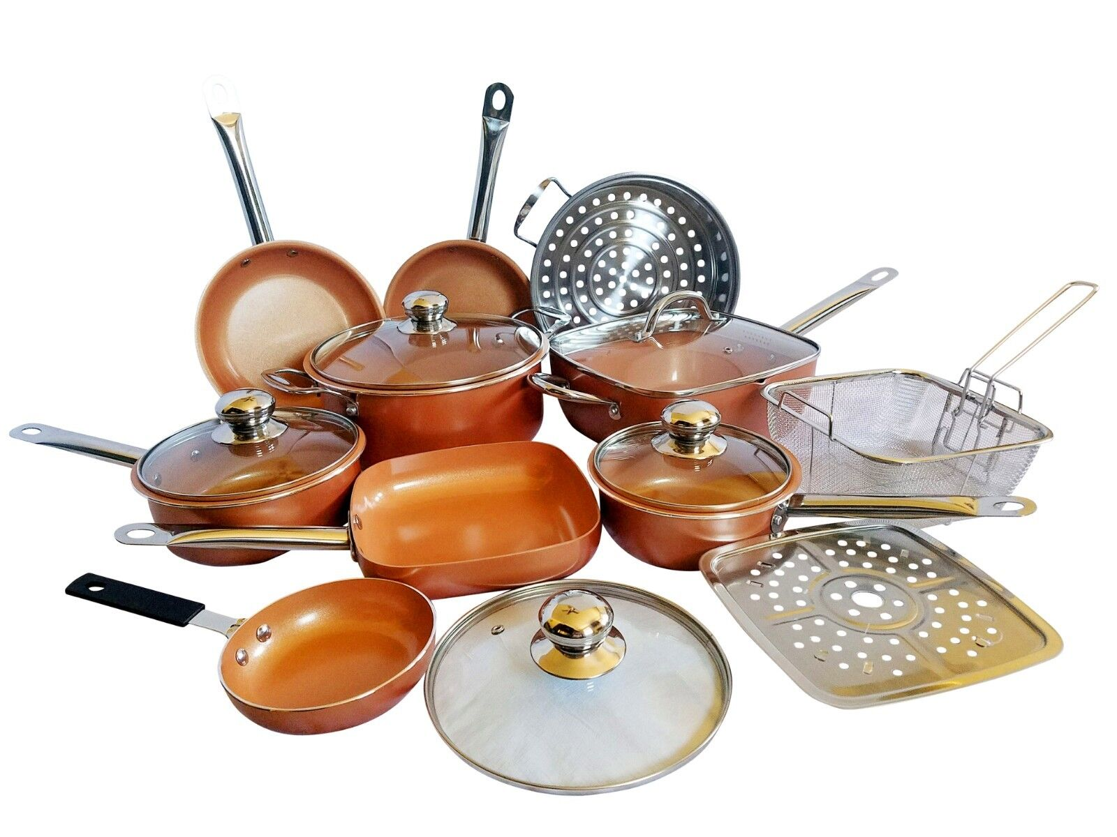 15-Piece Copper Non Stick Cookware All In One Kitchen Set In
