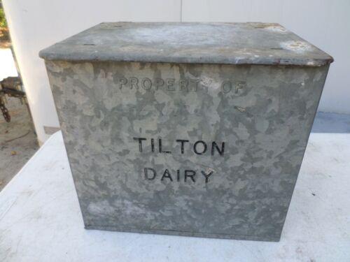 VINTAGE TILTON DAIRY  GALVANIZED METAL MILK BOX