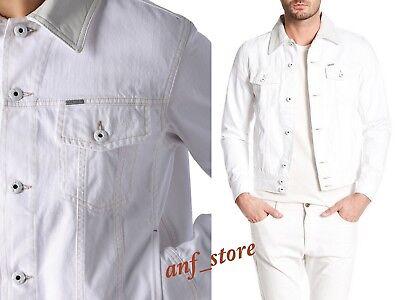 NWT Diesel D-JIM Mens Denim WHITE Leather Collar Jeans Jacket L LARGE $298