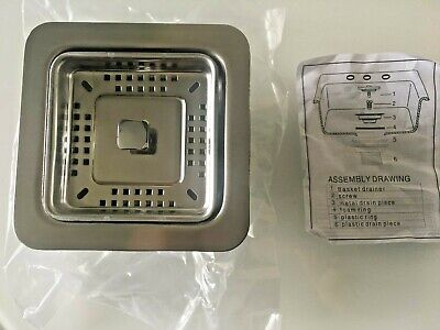 Kraus ST-3 Square Stainless Steel Sink Strainer Drain Assembly PAX & R0 Pro