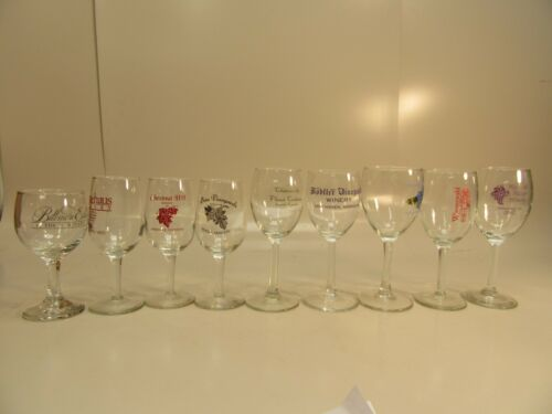 9 Wine Glasses From Different Wineries