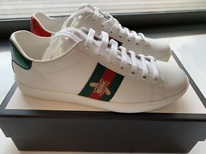 6fe1432f6 Gucci Ace Watersnake-Trimmed Embroidered Leather Sneakers (EU 37.5 ...