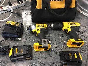 Dewalt Combo Drill + Impact 20v 2x Battery