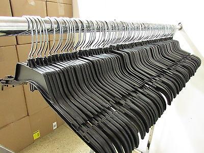 Lot of 110 Black Plastic Adult Clothes Shirt Hangers 17