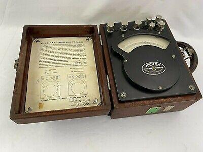 Vintage Weston Acdc Ammeter Model 370 In Wooden Case Steampunk From Wvu 1950