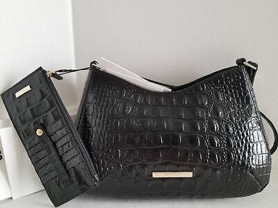 🌹 Brahmin Ani Croc Hobo Satchel Black Leather Shoulder Evening Bag + Wallet NWT Hobo Black Evening Bags
