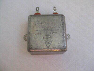 Industrial Cond. Corp. 2 Uf 600v Paper In Oil Bathtub Capacitor 600vdc 2mfd Nos