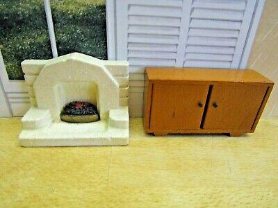 Vintage Dolls House Furniture Sideboard and Plaster Fireplace
