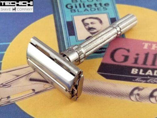 1964 J1 Gillette Slim Adjustable Vintage Double Edge Safety Razor for Shaving