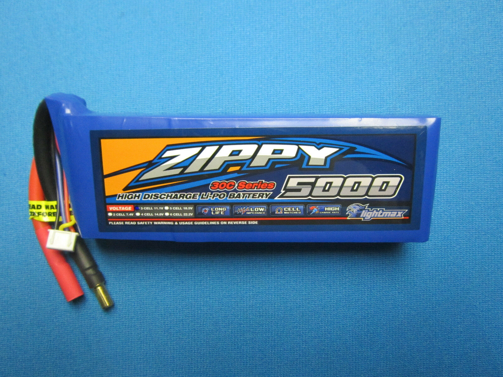 ZIPPY 5000mAh 3S 11.1V 30C 40C LIPO BATTERY 5.5MM BUGGY TRUC