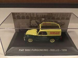 VEICOLI-PUBBLICITARI-SOFIA-N-62-FIAT-500-C-FURGONCINO-1959-RIELLO-IXO-ALTAYA
