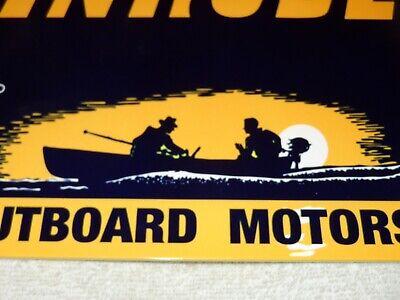 """VINTAGE """"EVINRUDE OUTBOARD BOAT MOTOR"""" 12"""" METAL GASOLINE & OIL SIGN! PUMP PLATE"""