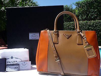 PRADA Bicolor Saffiano Lux Double-Zip Tote Bag Brown/Orange (Carmel/papaya) NWT