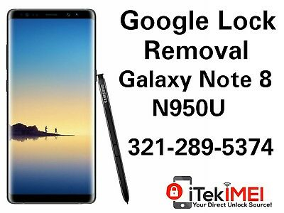 Galaxy Note 8 N950u Google Account Removal Bypass Unlock  Reset Frp  Remotely