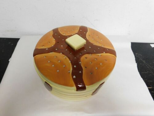 Ceramic pancake warmer with vented lid serving dish vintage kitchen accessories