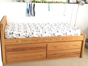 Solid wood twin bed with dresser