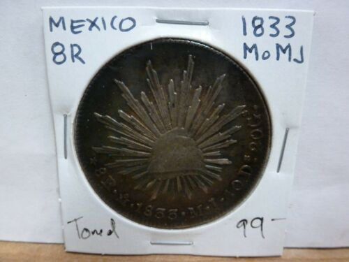 1833 Mo MJ MEXICO, 8 Reales, Silver