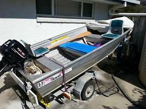 STACER 3.7m TINNY WITH TRAILER AND 15HP OUTBOARD