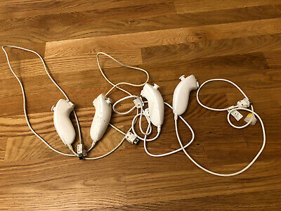 Lot Of 4 OEM Nintendo Wii Nunchuck controllers White Tested Works Original