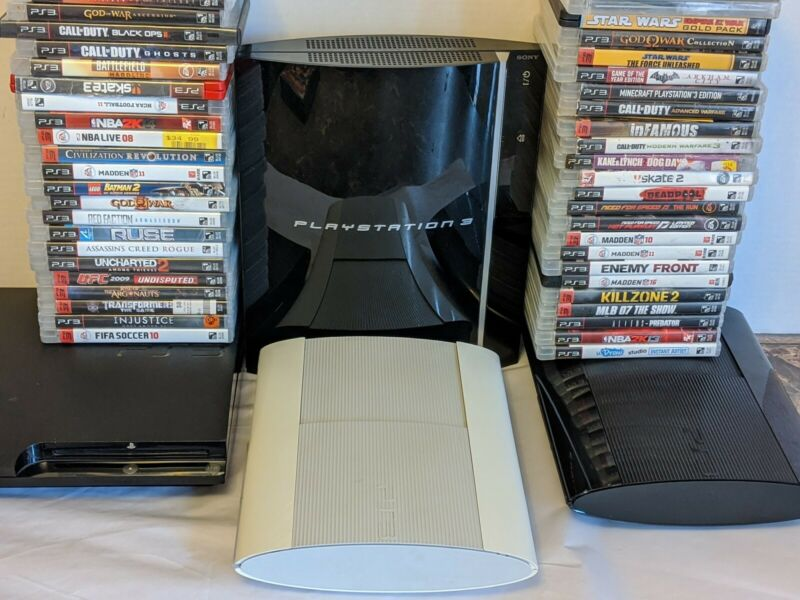 Sony PlayStation 3 PS3 Fat Slim or Super Slim Console W 4 Random Games All Cords