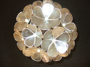 CAPIZ SHELL PENDANT CEILING LIGHT WHITE SILVER FLORAL BALL