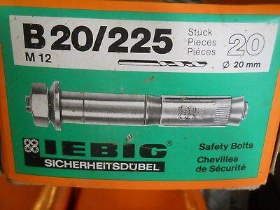 20 x LIEBIG SICHERHEITSDÜBEL  B 20/225  M 12  -NEU / OVP-
