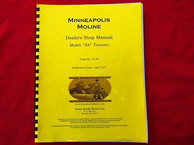 Minneapolis Moline Dealer Shop Manual Reprint-za Tractors