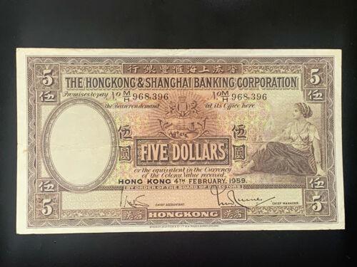 1959 The Hong Kong and Shanghai Banking Corporation $5 Last year