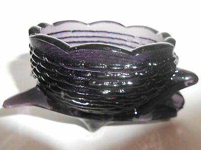 Amethyst purple glass garden Wheelbarrow basket toothpick holder salt celt black