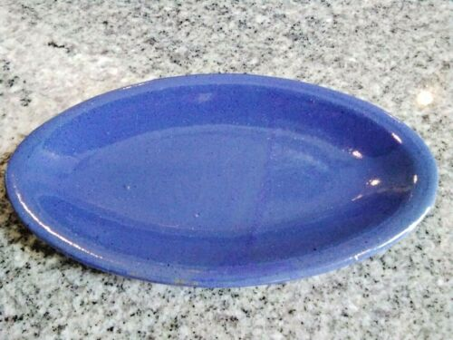 Rare Vintage BYBEE Pottery oval side plate Bybee Blue party snack corn-on-cob