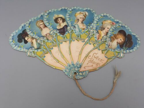Antique Victorian Fan Greeting Card Raphael Tuck Sweethearts Germany 1900