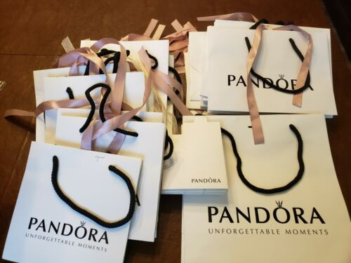 Pandora Jewelry Gift Bag/ Attached Ribbon Used Once& 10 soft fabric pouches