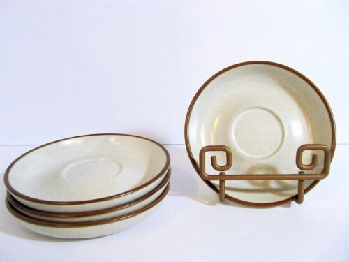 Denby POTTERS WHEEL Rust Set of 4 Saucers Mid Century Stoneware Earthenware