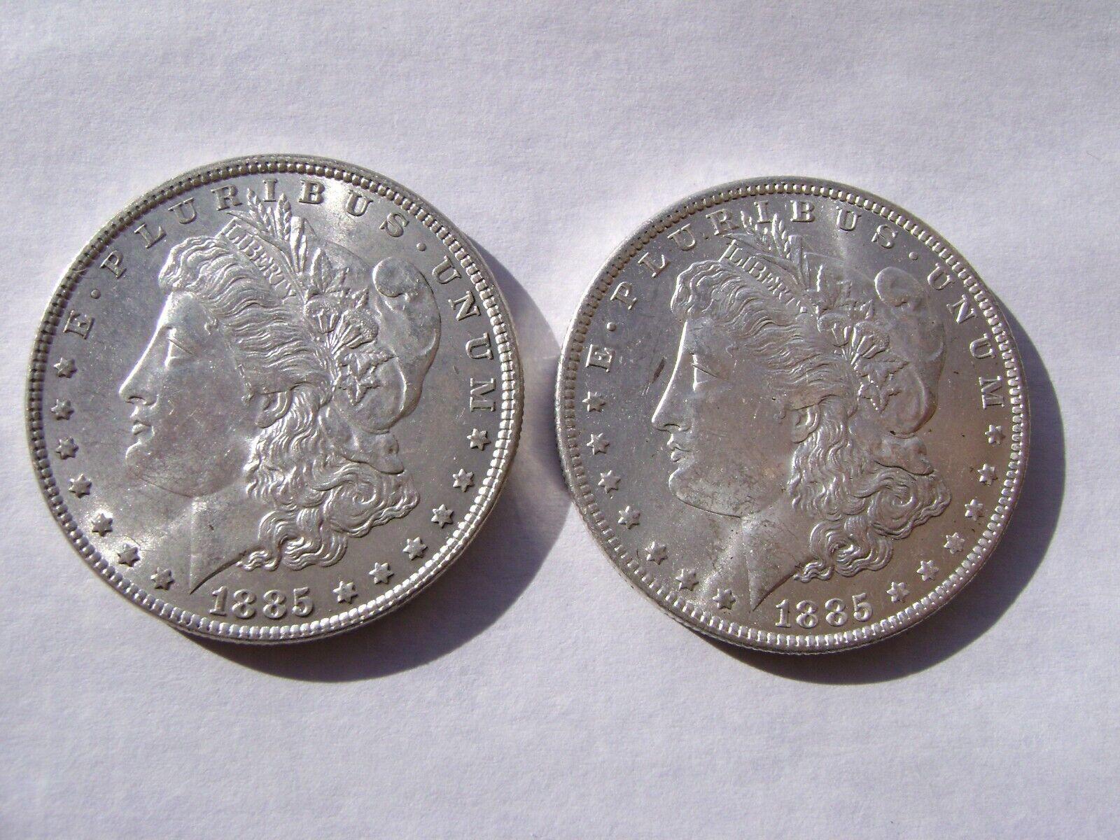 2 Lot 1885 P And O US Morgan Silver Dollar Choice BU Coins Nice  - $72.20