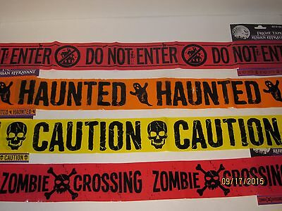 Halloween Decorations FRIGHT TAPE Scary Haunted House, Zombie Crossing, Caution