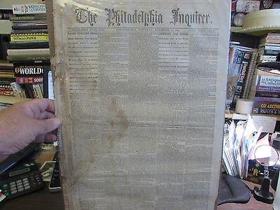 CIVIL WAR - THE PHILADELPHIA INQUIRER NOV. 26TH 1864 - ORIGINAL