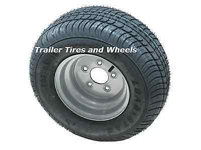 "2* 205/65-10 LRC Bias Trailer Tire on 10"" 5 Lug Silver Trailer Wheel 20.5x8.0-10"