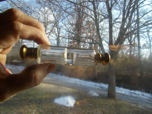 ANTIQUE 1890s VICTORIAN DOUBLE ENDED SCENT PERFUME BOTTLE CUT GLASS PANELS