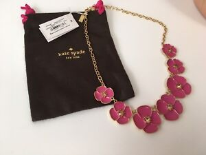 KATE SPADE NEW YORK PINK / PURPLE FLORAL STATEMENT NECKLACE NWT