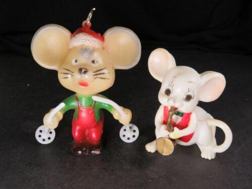 2 Vintage Soft & Hard Plastic Mice Mouse Light Cover Christmas Figures Lot B1244